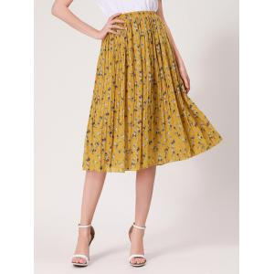 Tiny Floral Print High Waist Midi Skirt - Ginger - One Size