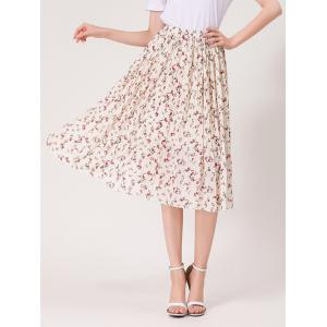 Tiny Floral Print High Waist Midi Skirt - White - One Size