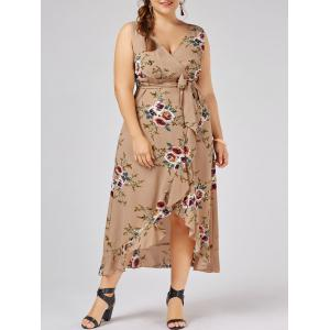 Plus Size Overlap Flounced Tiny Floral Dress - Apricot - 2xl