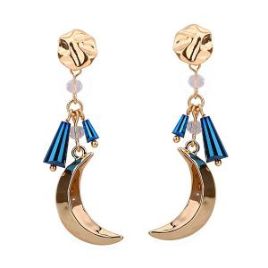 Metal Crescent Pendant Plating Drop Earrings - Blue