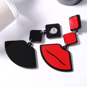 Lip Pendant Geometrical Drop Earrings - RED