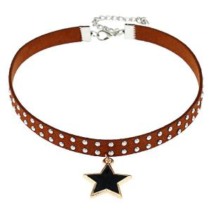 Punk Rivet Star Faux Leather Choker Necklace