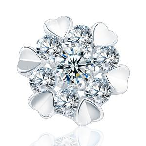 Artificial Diamond Tiny Heart Floral Design Earrings