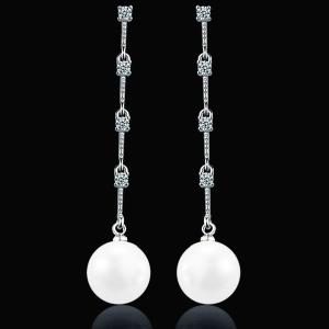 Faux Pearl Link Chian Rhinestone Drop Earrings - Silver