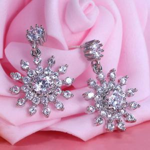 Alloy Rhinestone Flower Design Drop Earrings - Silver - 8