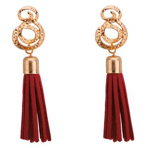 Tassel Hollow Out Metall Engrave Drop Earrings