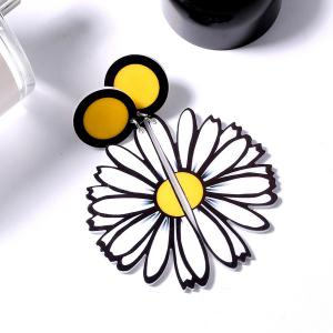 Half Daisy Flower Shape Drop Earrings - Yellow