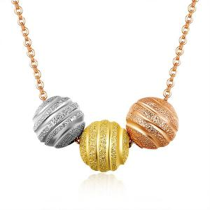 Ball Pendant Gold Plated Necklace - Rose Gold