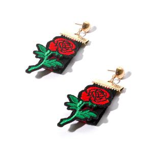 Vintage Fabric Embroidery Rose Flower Earrings