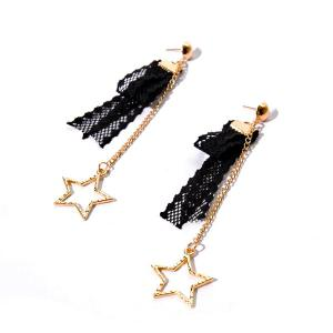 Lace Vintage Star Chain Earrings - Black - 2xl