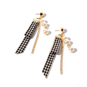 Artificial Pearl Plaid Fabric Chain Earrings - Golden