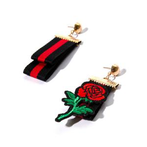 Embroidery Rose Flower Striped Fabric Earrings - Golden
