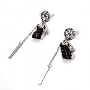 Rhinestone Flower Bar Pin Chain Earrings
