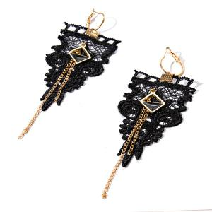 Geometric Crochet Chain Earrings - Black - 3xl