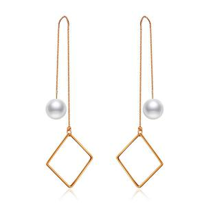 Faux Pearl Geometric Chain Drop Earrings - Rose Gold - One Size