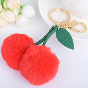 Leaf Fuzzy Cherry Key Chain -
