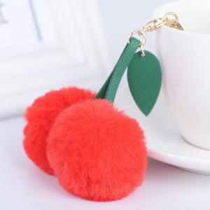 Leaf Fuzzy Cherry Key Chain - RED