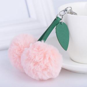Leaf Fuzzy Cherry Key Chain
