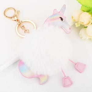 Fuzzy Ball Unicorn Key Chain - White