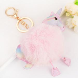 Fuzzy Ball Unicorn Key Chain - ROSE Pu00c2LE