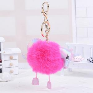 Fuzzy Ball Unicorn Key Chain - Rose Red