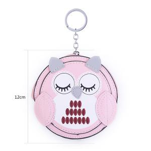 Faux Leather Owl Coin Purse Key Chain - PINK