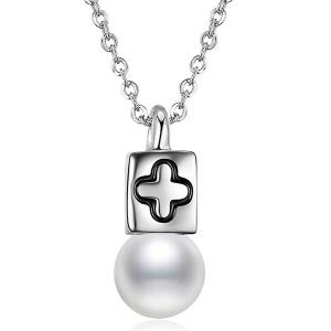 Faux Pearl Cross Collarbone Pendant Necklace - Silver