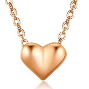 Heart Shape Collarbone Pendant Necklace - Rose Gold