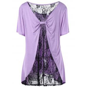 Plus Size Lace Trim Bow Back T-shirt - Purple - 5xl