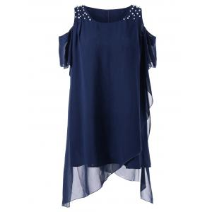 Beading Decorated Plus Size Cold Shoulder Blouse