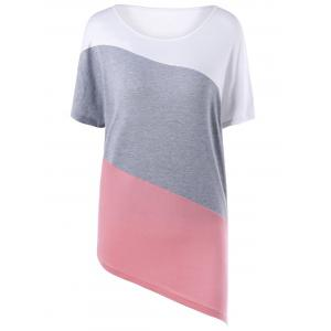 Asymmetric Color Block T-shirt - Colormix - 2xl
