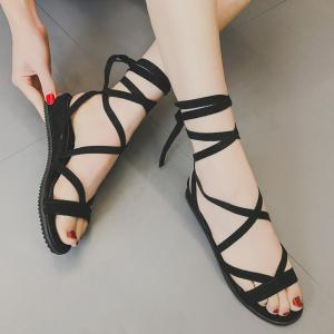 Low Wedge Tie Leg Gladiator Sandals - Black - 39