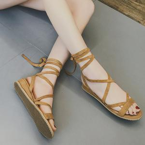 Low Wedge Tie Leg Gladiator Sandals