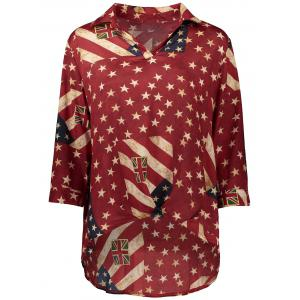 Asymmetrical Distressed American Flag Blouse