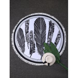 Feather Print Round Fringed Beach Throw