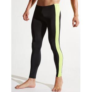 Stripe Contrast Quick Dry Athletic Pants - Black - L