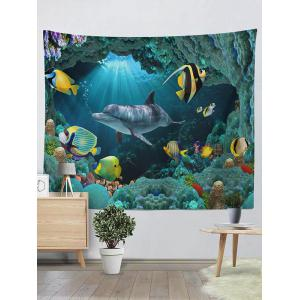 Wall Hangings Brushed Fabric Sea World Dolphin Tapestry