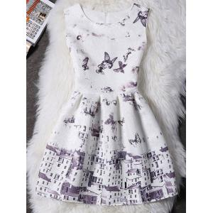 Burrerfly Print Sleeveless Mini Dress