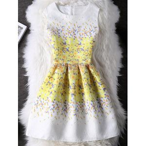 Floral Print Round Collar Mini Dress - White And Yellow - S