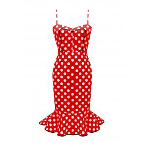 Spaghetti Strap Polka Dot Vintage Mermaid Dres - Red - 2xl