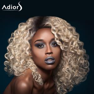 Adiors Medium Inclined Bang Shaggy Afro Curly Colormix Synthetic Wig