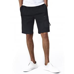 Zip Up Applique Pocket Embellished Drawstring Sweat Shorts - Black - 3xl