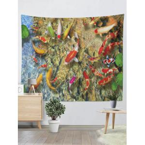Wall Hangings Goldfish Lotus Leaf Print Tapestry - Yellow - W59 Inch * L79 Inch