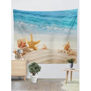 Wall Hanging Starfish Conch Beach Print Tapestry - Blue And Yellow - W59 Inch * L59 Inch