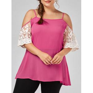 Plus Size Lace Panel Dew Shoulder Blouse