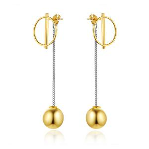 Circle Ball Drop Back Earring Jackets - Golden