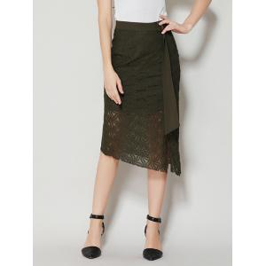 Asymmetrical Slit Lace Skirt with Long Tail - Black Green - S
