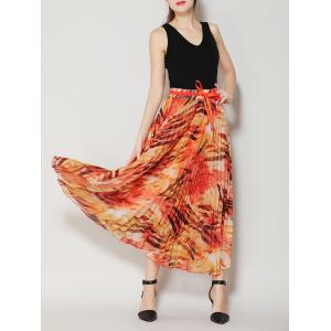 High Waist Pleated Midi Skirt with Bowknot - Jacinth - One Size(fit Size Xs To M)