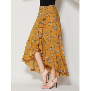 Tiny Floral Print Asymmetrical Ruffle Long Skirt - Ginger - L
