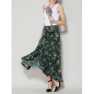 Tiny Floral Print Asymmetrical Ruffle Long Skirt - Deep Green - S
